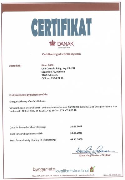 Energimærker Odense - certifikat