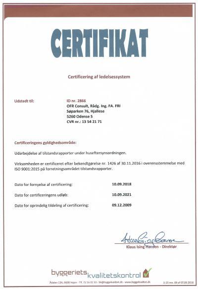 Tilstandsrapport Odense - certifikat